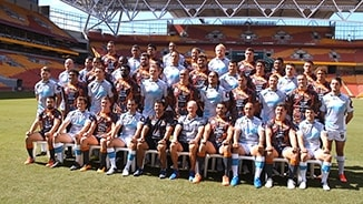 All Stars team photo and Harvey Norman store visit